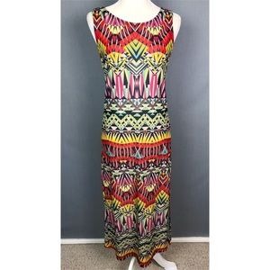 Nally & Millie geometric colorful maxi dress small